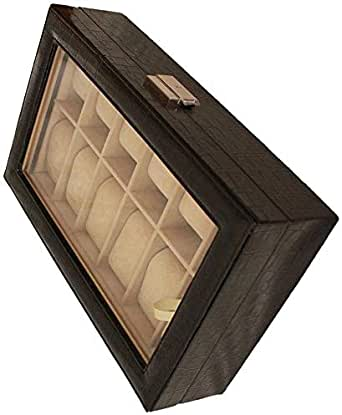 Watch Box Organizer Case,2 Layer Leather With Glass Display Top Watch Box,20 Slot Large,Black