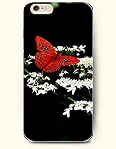 Case Cover For HTC One M8 Hard Case Cover Red Butterfly Flying around White Flower
