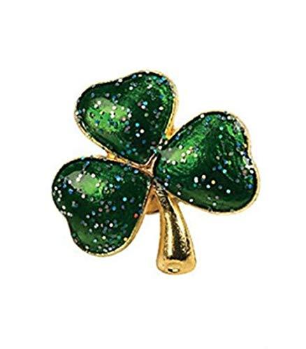 St Patrick's, Metal Green Glitter Shamrock 4 Leaf Clover Pin