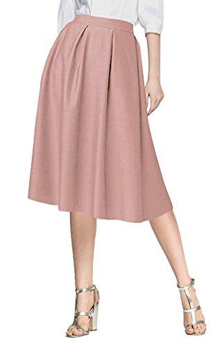 Vintage Urban Taille Haute Avec Ligne Femmes Jupe GoCo Poches Longue Midi de Pink De Jupe Plisse A qvxfqYwHr