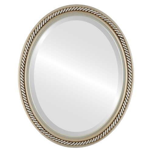 Oval Beveled Wall Mirror for Home Decor - Santa Fe Style - Silver - 22x32 outside dimensions by Oval And Round Mirrors