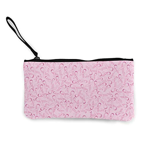 Canvas Cash Coin Purse,Pink Ribbon Pattern Print Make Up Bag Zipper Small Purse Wallets