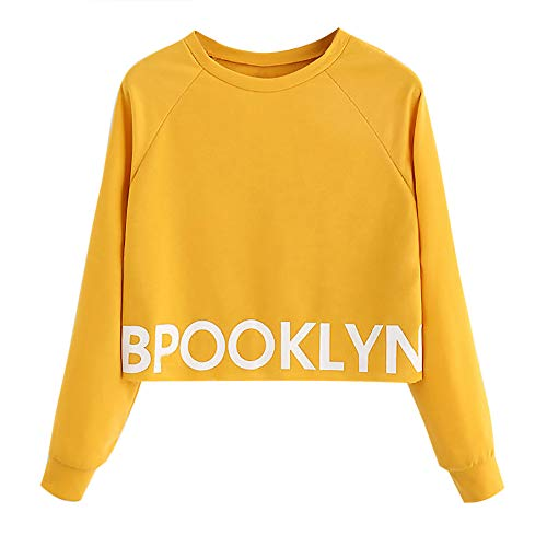 Pullover Blouse Morwind Fashion O Yellow Letter Casual Long Womens Sleeve neck Sweatshirt Tops vzvpB
