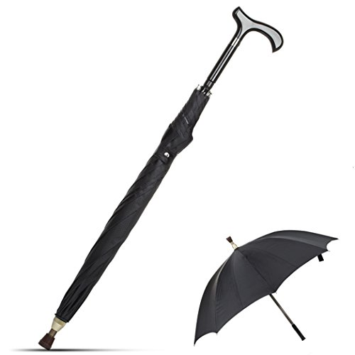 KRY 2-In-1 Walking Sticks Umbrella - UV Blocker & Windbreak Ribs Walking Cane Umbrella Heavy Duty Solid Tungsten Steel - Ideal Father's Gift for Climbing, Hiking, Hanging Out on Raining by KRY