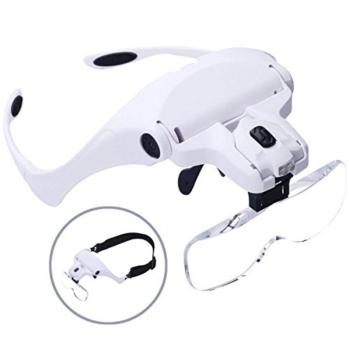Headband Magnifier Glasses With LED Light, Head Mount Magnifier Handsfree Reading Magnifying Glasses with Light for Close Work Jeweler Loupe Craft Watch Repair Hobby 5 Lenses 1.0X 1.5X 2.0X 2.5X 3.5X]()