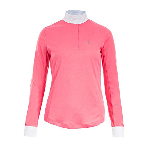 Horze Blaire Ladies UV Ice Fit Long Sleeve Show Shirt, Pink, 2 - Ladies Show Shirt