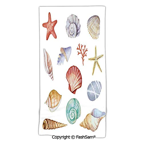 (Home Bath Towel Collection of Different Type Seashells Scallop Mollusk Summer Exotic Creatures Animals Beach Sheet for Men Women(w31xL63))