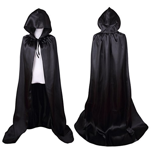 [Colorful House Unisex Full Length Hooded Cape Costume Cloak (Black, 59
