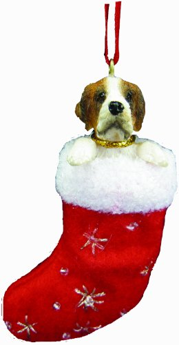 """Saint Bernard Christmas Stocking Ornament with """"Santa's Little Pals"""" Hand Painted and Stitched Detail"""