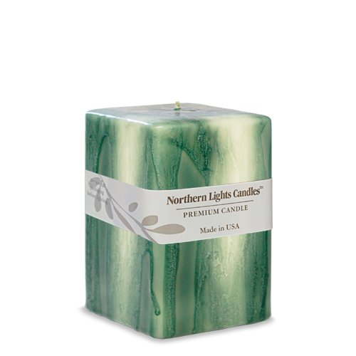 Northern Lights Candles Embers Pillar Candle, 3 by 4-Inch, Eucalyptus