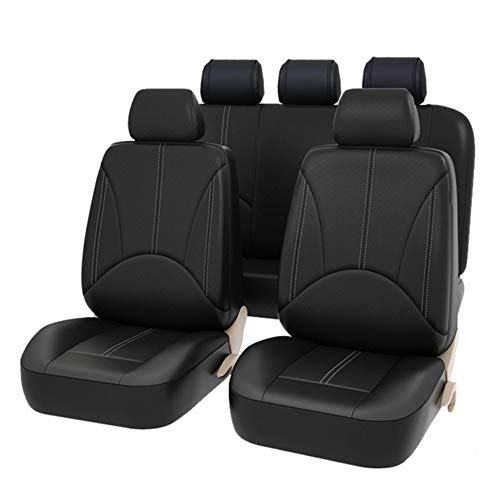 AUTO HIGH 11-Pieces Car Seat Covers Full Set - Premium Faux Leather Automotive Front and Back Seat Protectors - Fits Most Car Truck Van SUV, Black #1 (Nissan Rogue With Leather Seats For Sale)