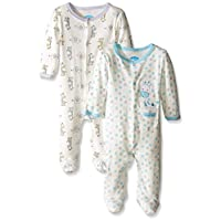 BON BEBE Baby Best Friends 2 Pack Assorted Coverall Set, Neutral, 0-3 Months