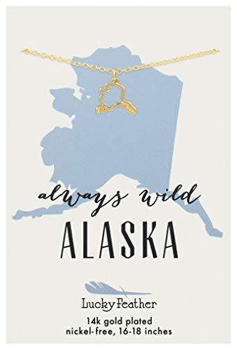 (Lucky Feather Alaska Shaped State Necklace, 14K Gold-Dipped Pendant on Adjustable 16