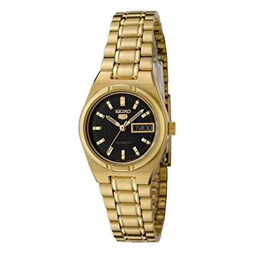 Seiko Women's 5 Automatic SYM602K Gold Stainless-Steel Automatic Watch with Black Dial (Seiko Women 5 Watch Gold)