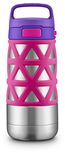 Ello Max Kids Vacuum Insulated Stainless Steel Water Bottle with Silicon Sleeve | 12 oz | Pink/Purple