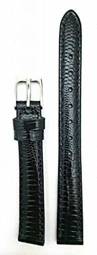 14mm Black Genuine Leather Watch Band | Teju Lizard Grain, Lightly Padded, Replacement Wrist Strap that brings New Life to Any Watch (Womens Standard Length)