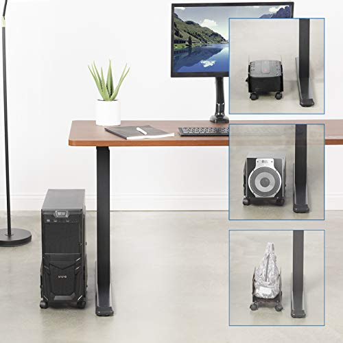 Computer Desktop Tower Case Stand Adjustable Wheels Roll Cpu Atx Caster Mobile