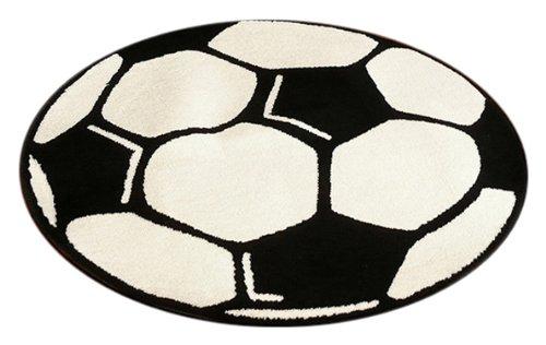 Hanse Home 100015 Fußballteppich rund, 100 cm, schwarz / weiß