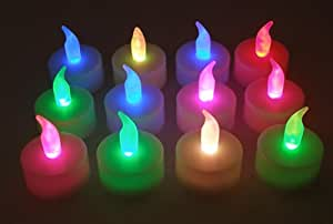 Lily's Home Color Changing Everlasting Tealights Candles with 7 Rainbow Colors- Set of 12