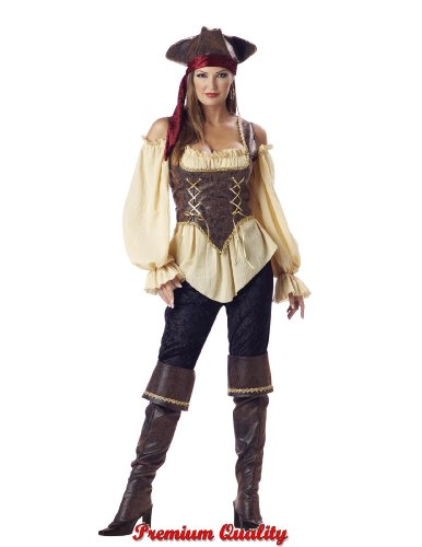 [Rustic Pirate Lady Costume - Medium - Dress Size 6-10] (Scallywag Pirate Costume)