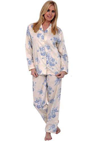 Del Rossa Women's 100% Cotton Long Sleeve Pajama Set with Pj Pants, Medium Blue Flowers on Cream (A0517N39MD)