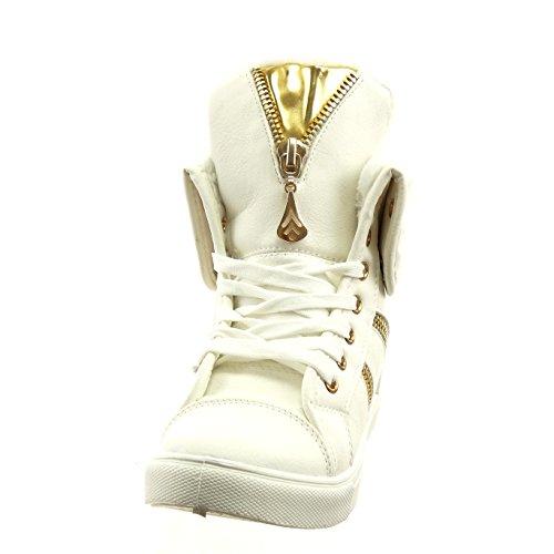 Sopily - Scarpe da Moda Sneaker alti alla caviglia donna zip Tacco a blocco 2.5 CM - soletta sintetico - foderato di pelliccia - Bianco