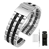Brushed 5 Rows 22mm Stainless Steel Watch Band Replacement, Decent Silver & IP Black Metal Watch Strap Bracelet for Men Women - Deployment Clasp