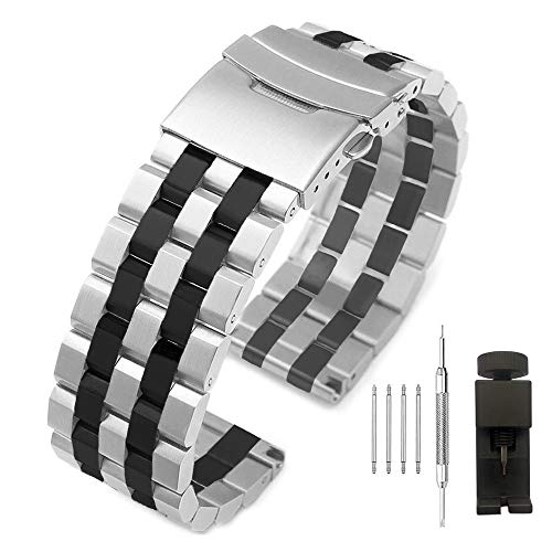 Twon Tone 18mm Metal Watch Band Replacement Strap, Silver IP Black Sport Band Stainless Steel Watch Bracelet for Men Women - Deployment Clasp ()