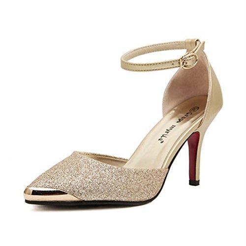 Pointu Chaussures Hauts Simples Confortable à Or Sequins Talons Chaussures Métal Confortable Xianshu AnwZpfxTx