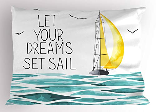 Ambesonne Sailboat Pillow Sham, Let Your Dreams Set Sail Message Ogee Patterned Watercolored Waves, Decorative Standard King Size Printed Pillowcase, 36 X 20 Inches, Sky Blue Black and ()