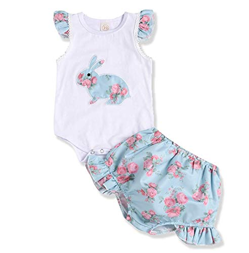 Newborn Baby Girl Easter Outfit Ruffle Sleeveless Bunny Bodysuit Tops +Floral Tutu Shorts 2Pcs Clothes Set (White, 0-6 Months)