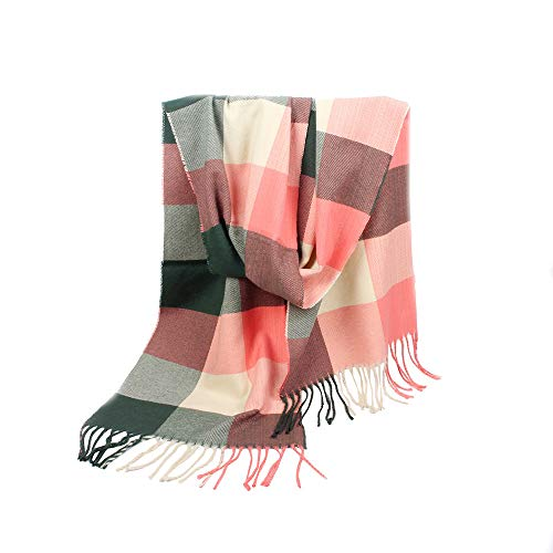 Price comparison product image Women's Fall Winter Scarf Classic Tassel Plaid Scarf Warm Soft Chunky Large Blanket Wrap Shawl Scarves (B,  200x30cm)