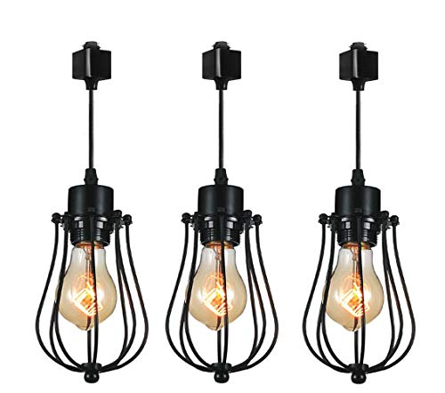 3-Pack H System Track Mini Pendant Lighting, Matte Black Finish with Black Cage Shade and Edison Bulbs, Chandeliers in Vintage Style for Home Kitchen Lighting ()