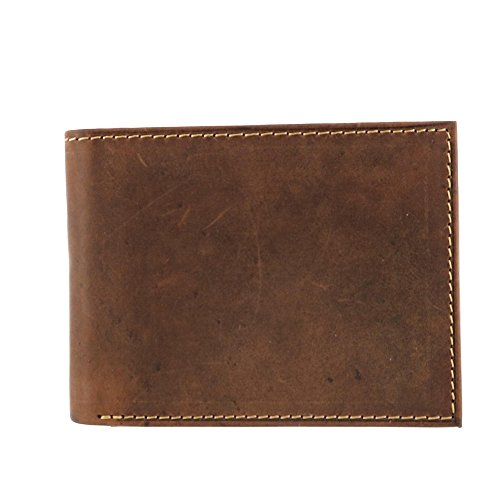 Leather Bi Fold Distressed (CTM Men's Hunter Leather Distressed RFID Bifold Passcase Wallet, Brown)