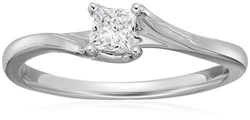 Princess Twist Solitaire Diamond 14k White Gold Engagement Ring (1/3carat, I-J Color, I2-I3 Clarity), Size 7 (Gold White Twist)