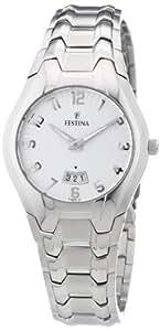Festina F16371/1 - Reloj analógico de cuarzo para mujer con correa de acero inoxidable, color plateado
