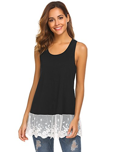 Wildtrest Women's Sleeveless Racerback Lace Hem Tank Tops Black - Cami Lace Racerback