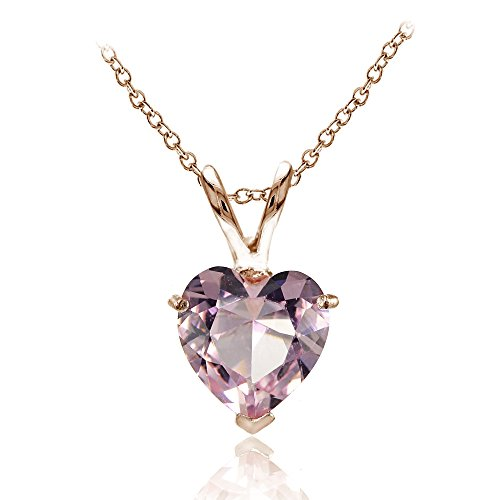 (Rose Gold Flashed Sterling Silver Simulated Pink Tourmaline 7mm Heart Pendant Necklace)