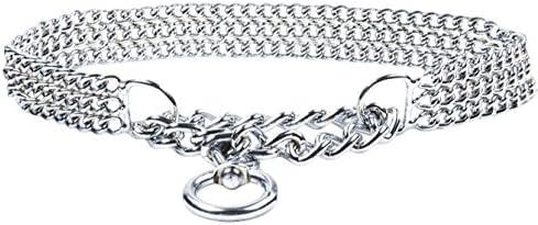 3 Rows, 27.5 inch Metal Half Choke Strong Chrome 2 /& 3 Rows Slip Semi-Check Chain Dog Collar 70 cm