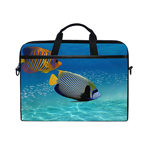 (PENGTU 15-15.4 Inch Laptop Bag Coral Reef Tropical Fish Red Sea Shoulder Messenger Bags Sleeve Case Tablet Briefcase with Handle Strap)