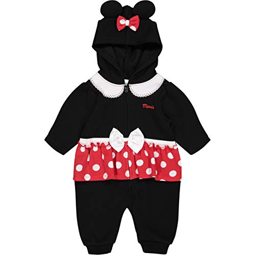 Disney Minnie Mouse Baby Girls' Fleece Zip-Up Costume Coverall with Hood, 3-6M, Black]()