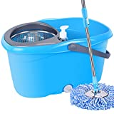 Happy Time MOP Bucket Rotary Automatic Stainless Steel mop Good god Drag Free Hand wash mop Land Drag Home mop Suitable for Home School Office, etc,Blue