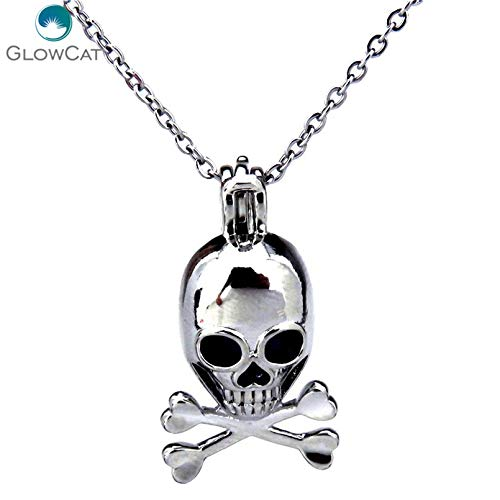 Gimax K214 Silver Locket Necklace Smile Face Skull Bead Cage Locket Stainless Chain Aroma Essential Oil Diffuser Locket