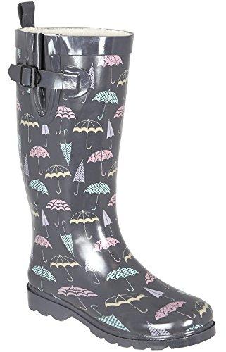 Capelli New York Ladies Shiny Umbrella Printed Rain Boot Grey Combo PUXgWoN