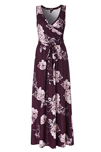 Zattcas Womens Bohemian Printed Wrap Bodice Sleeveless Crossover Maxi Dress,Dark Plum,Large