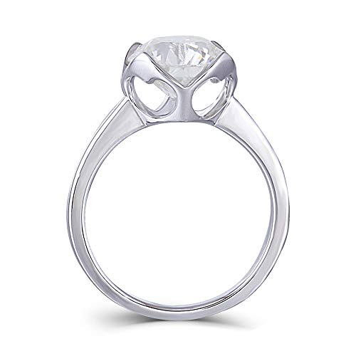 DovEggs Platinum Plated Silver 3ct 9mm G-H-I Color Heart Arrows Cut Moissanite Engagement Rings Solitare Bezel Set 2.2mm Band Width(7.5)