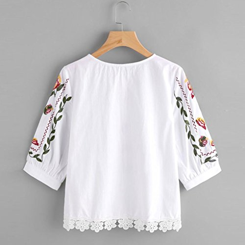 Women Long Sleeve Lace Printing Blouse Casual Tops Loose T-Shirt (S, White)