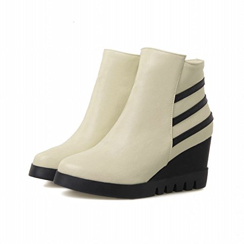Latasa Donna Moda Strisce Cerniera Ankle-high Casual Mid Zeppa Stivali Beige