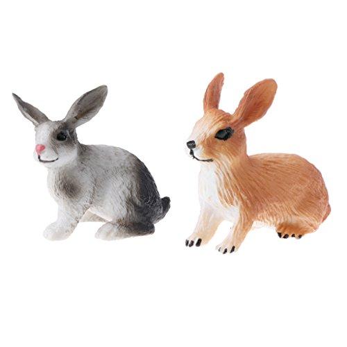 Perfk リアル ウサギモデル 子ども おもちゃ 置物 コレクション 動物模型 モデル 全2点 コレクションの商品画像