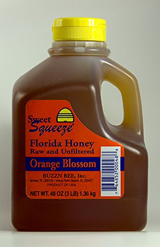 (Sweet Squeeze Raw and Unfiltered Orange Blossom Honey - From Florida's Beekeepers, 48 Ounce)